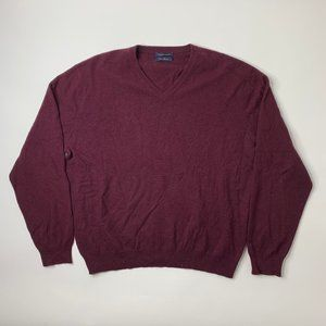 Club Room Mens XL V Neck Cashmere Sweater Maroon